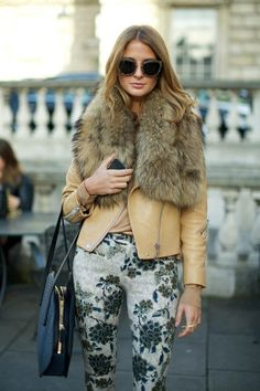 fur collar over leather + printed pants