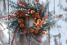 Natural Preserved Eucalyptus Wreath, Green and Rust, Pinecones. Sweet Something Designs on Etsy.