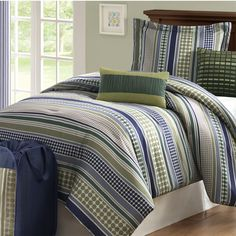 On Your Own Stipple Stripe 5 Piece Teen Comforter Set - Blue - Twin/TXL