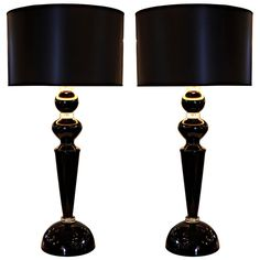 1stdibs | Striking Pair of Black Murano Glass Lamps