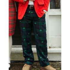 Castaway Clothing Embroidered Corduroy pants with mistletoe from Dann Clothing,