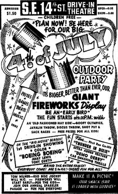 Newspaper Ad for SE 14th Street Drive In, July 1966