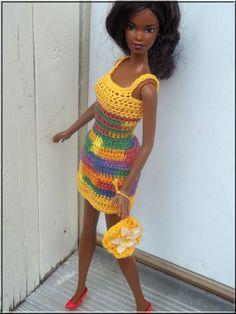 Barbie Doll Clothes Crochet Yellow Dress