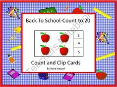 Back To School Count To 20 Count and Clip Cards from smalltowngiggles on TeachersNotebook.com -  (7 pages)  - Students can practice their counting skills with this Back To School Count To 20 count and clip card math center activity. Students will count the school objects and clip a clothes pin on the correct number.