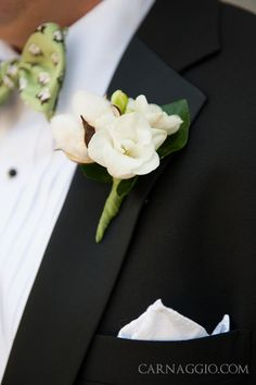 Cotton boutonniere with bow tie