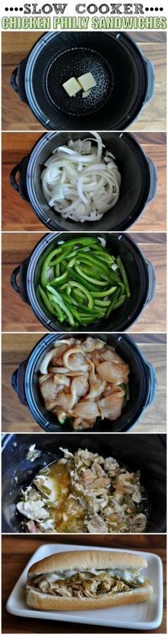 dinner, crock pot, chicken philli, chicken philly, slow cooker chicken, crockpot, food, sandwich recipes, philli sandwich