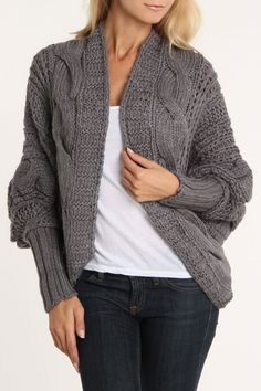 Love Stitch Open Front Sweater In Ash.