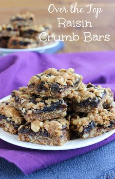 Over the Top Raisin Crumb Bars have 3 distinct layers with different textures and taste. A yummy oats base, a fruit filling, a perfect peanut crumb topping.