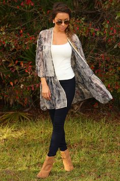 Never Miss A Beat Cardigan: Gray/Cream #shophopes