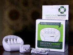 The SecondWind Alkaline Battery Charger allows you to simultaneously re-charge up to four AA or AAA alkaline batteries — the ordinary disposable kind — in just about 90 minutes.