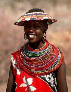 Africa | Masai beadwork.  {I love the hat}