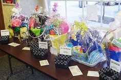 Raffle/Gift Basket Idea.  Using sand buckets for gift baskets.