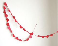 Red Valentine's Day - Wedding Hearts Paper Garland