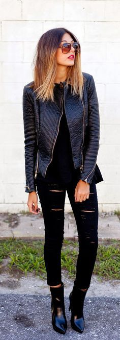 black leather moto jacket outfit with boots