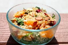 Quinoa Salad with Spinach, Mandarin Oranges, Dried Cranberries and Almonds
