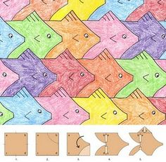 """THE perfect lesson for the kid who sits in art class everyday and says """"can I just do math?""""  Tessellations - look at Escher  - VERY IMPORTANT TO SUPERVISE EACH STEP EASY FOR STUDENTS TO STUFF UP! yr 8"""