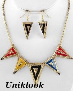 20.99$ Antique Gold & Bold Colors 5 triangles Decorative Statement Necklace set Jewelry