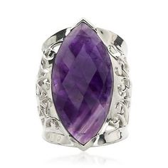 A wonderfully rich ring with poise and presence. Faceted central marquise amethyst totaling 25.00 carats is set in a textured bed of polished sterling silver with filigree sides magnificently. >>Click on the Amethyst Ring to shop more our collection at Ross-Simons.
