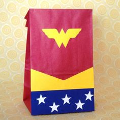 wonder woman favor bags ♥  For more party & home inspiration, diy's & more check out- these-2-hands.com #These-2-Hands