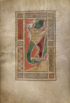 The Gospels of Mael Brigte, British Library, Harley MS 1802, fol.60v, Lion.
