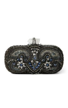 Marchesa Lily Embroidered Clutch in Blue Multi