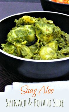 One of the best Indian side dishes, Potatoes coated in a spicy spinach sauce. #curry #veggie #vegan