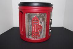 A repurposed coffee can as a doggie treat jar.  Adorable. doggie treats, dog treat, doggi treat, treat jar