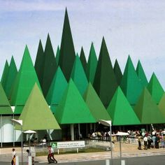 #tbt Canadian Pulp & Paper Pavilion Expo circa '67 #Montreal #Quebec #Architecture #rooftop #green #Canada #1967 rooftop, paper pavilion