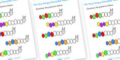 Twinkl Resources >> The Very Hungry Caterpillar Pattern Sheet  >> Thousands of printable primary teaching resources for EYFS, KS1, KS2 and beyond! education, free, fun, worksheets, home education, printable, story based, popular,