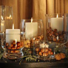 Candle chestnut centrepiece