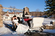 Minnesota winter wedding! love!  www.jeanninemarie.com  http://hopeglenfarm.com/  www.savviformalwear.com   Design n Bloom   http://www.design-n-bloom.com/  Denn Carriages  http://www.minnesotahorsemensdirectory.com/new-prague/denn-carraiges.php
