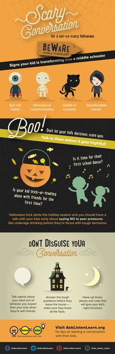 How are you talking with your kids about being safe on Halloween? Tell us by repinning and captioning the conversation starter you used with your kid to discuss avoiding risky behavior on Halloween night.  Halloween | Conversations | Kids
