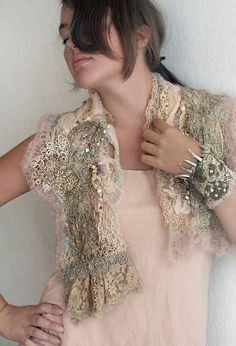 nuno felted/hand embroidered shawl by Bon Heur...