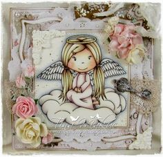 The fabulous Tina Makuc as a Guest Designer!  She made this stunning card using Angel Ellie rubber stamp. You can see more pics on her blog HERE .