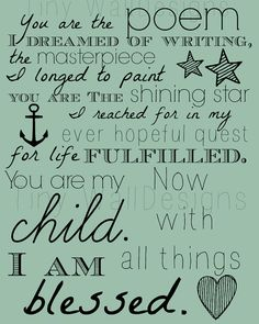 You are My Child Quote Word Art Nursery Decor by TinyWallDesigns, $7.00