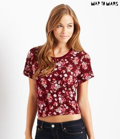 Map to Mars Floral Boxy Crop Tee from Aeropostale