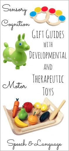 A collection of gift guides written by developmental specialists with recommendations for speech and language, fine and gross motor, cognitive, and sensory play toys.
