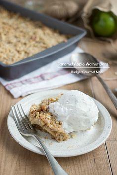 Caramel Apple Walnut Bars www.budgetgourmetmom.com #fall #recipe #apples