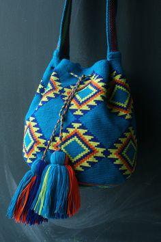 Mochila Wayuu - Teal, yellow, orange multicolor. $160.00, via Etsy.