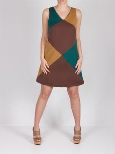 Vestido tricolor triángulos #dress