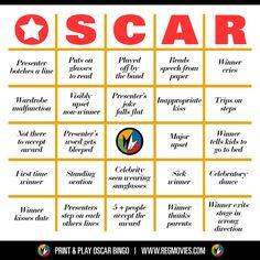 Oscar Bingo! Card no. 1