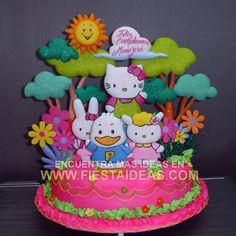 idea de Torta Hello Kitty 1 Torta de Cumpleaños- cake ideas de decoracion de pas Fiestaideas.com