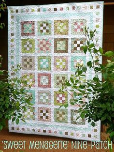 'Sweet Menagerie' nine-patch quilt by Bloom and Blossom, via Flickr