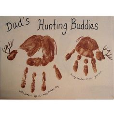 Dad's Little Hunting Buddies Handprint Deer keepsake for Father's Day