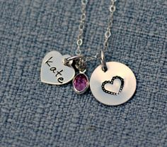 Fancy Heart Personalized Necklace Hand by 3LittlePixiesShoppe, $38.00