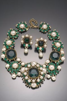 Vintage Costume Jewelry Love- Balenciaga Emerald Green Necklace and Earring Set, Haute Tramp