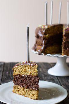 triple layer chocolate vanilla birthday cake with chocolate cashew creamfrosting - Edible Perspective -