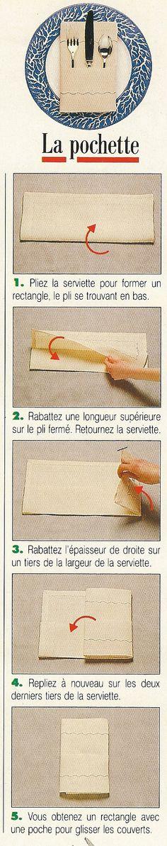 Pliage de serviettes en forme de pochette