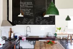 Chalkboard in an Australian farmhouse kitchen