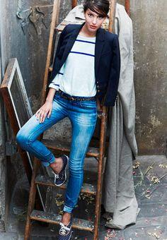 tomboy, madewel, polka dots, fashion, blazer, style, denim, keds shoes outfit, stripes